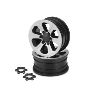 Jconcepts Hustle - 1.9 Vaterra Ascender 12mm glue-on wheel - (black w/ silver face plating) - 2pc.