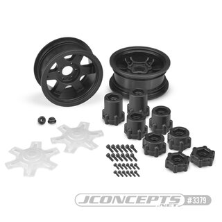 Jconcepts Dragon - 2.6 mega truck wheel w/ adaptors, discs - (black) - 2pc.